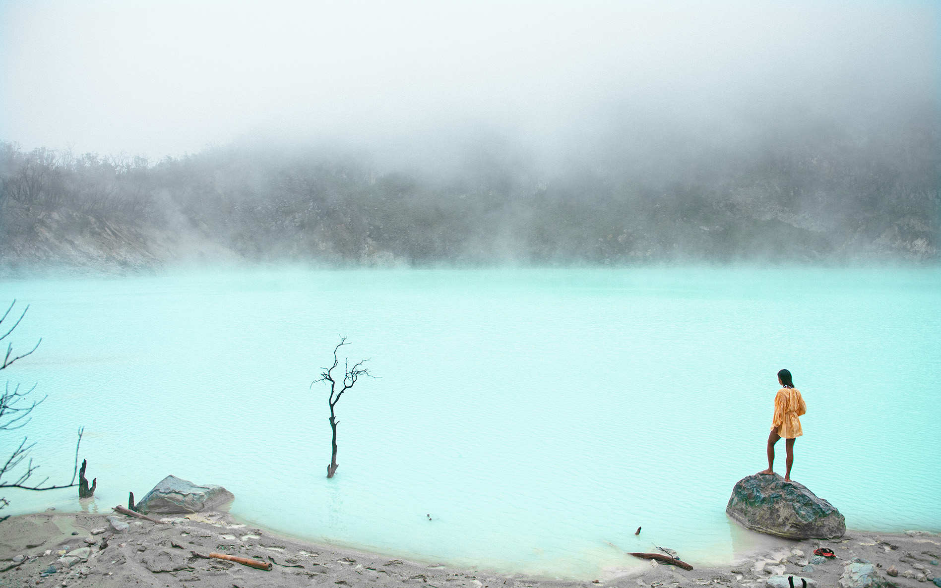 Kawah Putih, a striking crater lake in Bandung.